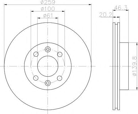 MINTEX  RENAULT Диск тормозной передний R25 259 20.2 17.7 MINTEX MDC366