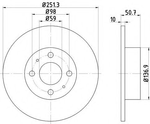 MINTEX   FIAT Диск тормозной задний CROMA (251*10) MINTEX MDC389