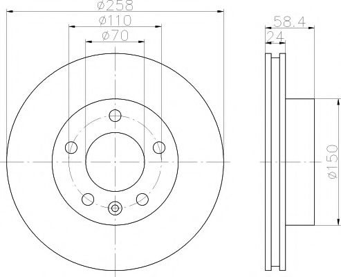 MINTEX  OPEL Диск тормозной Omega A 86-94 вентил. MINTEX MDC424