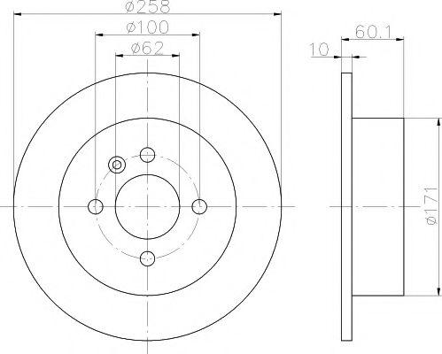 MINTEX  Диск тормозной задний 316 82- (258*10) MINTEX MDC470