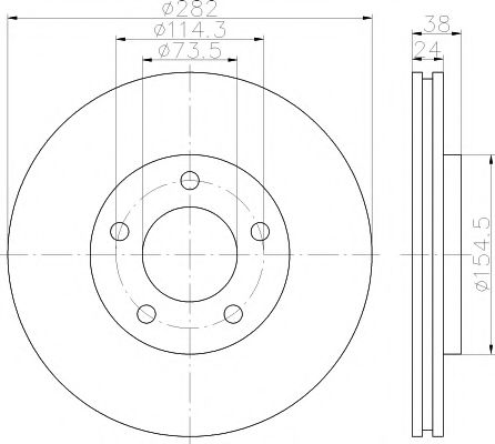 MINTEX   CHRYSLER Диск тормозной Voyager 91-95 MINTEX MDC1270