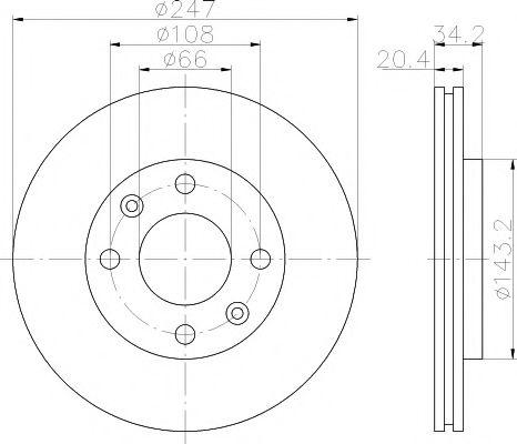 MINTEX  Диск тормозной передний PEUGEOT 206 98- (247*20,5) MINTEX MDC532