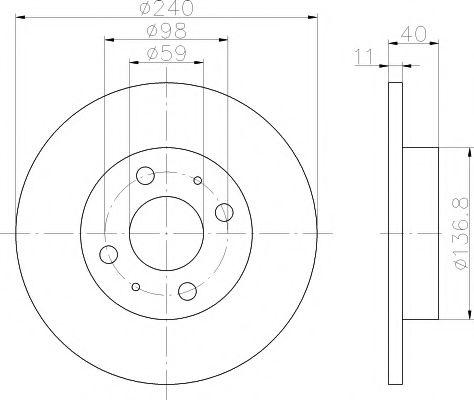 MINTEX  FIAT Диск тормозной TEMPRA 1,6 240x11,CINQUECENTO,PUNTO II 1.2 MINTEX MDC592