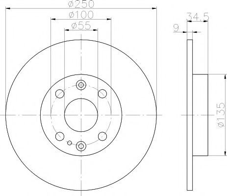 MINTEX  MAZDA Диск тормозной задний 323 90-94 250 9 8 MINTEX MDC660