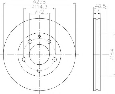 MINTEX  Диск тормозной перед. (вентил.) FORD Probe, MAZDA 626, Premacy, Xedos 91-(258*24) MINTEX MDC666