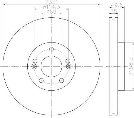 MINTEX  HYUNDAI Тормозной диск передний Santa Fe 06- MINTEX MDC2023
