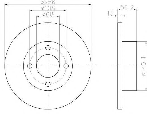 MINTEX  Диск тормозной перед. AUDI 80 91-96 (256*13) MINTEX MDC756