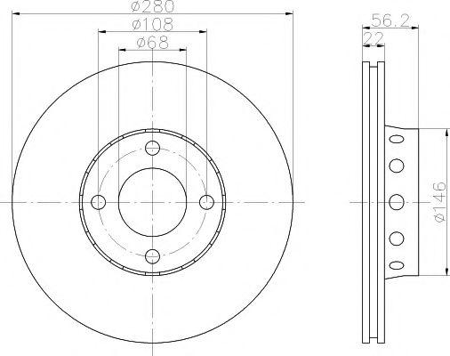 MINTEX  Диск тормозной перед. (вентил.) AUDI 80  91-96 (280*22) MINTEX MDC776
