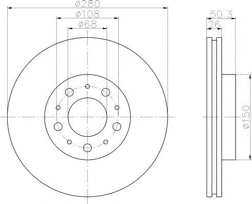 MINTEX   VOLVO Диск тормозной передний 850 94- 280 26 23 MINTEX MDC825