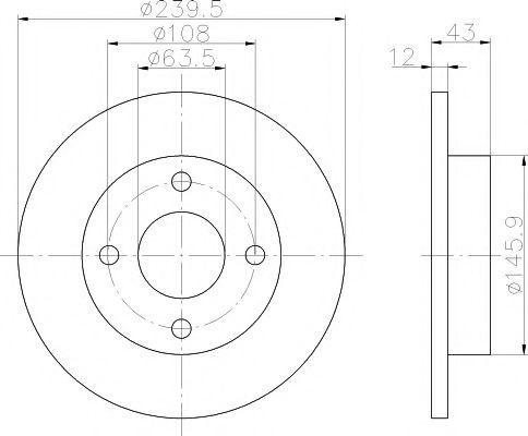 MINTEX  FORD Диск тормозной передний KA 1.3,FIESTA1.2,1.3 MINTEX MDC844