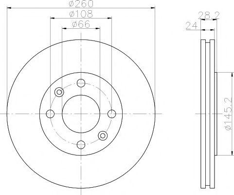 MINTEX  PEUGEOT Диск тормозной передний 406 95- (260*24) MINTEX MDC868