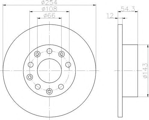 MINTEX  RENAULT Диск тормозной задний ESPACE 2.8 91-96 MINTEX MDC871