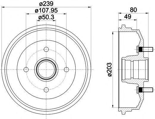 MINTEX  FORD Тормозной барабан Escort 95-99 MINTEX MBD052