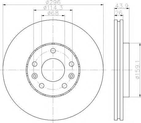 MINTEX  Диск тормозной передний (296*26) RENAULT Laguna 07-. MINTEX MDC2196