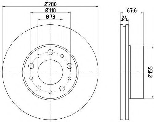 MINTEX  Диск тормозной передний CITROEN Jumper 1000/1400kg (280*24) MINTEX MDC2686