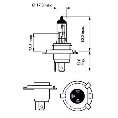 Лампа накаливания H4 12V 60/55W P43t-38  X-treme VISION +130% (пр-во Philips)                        PHILIPS арт. 12342XVS2