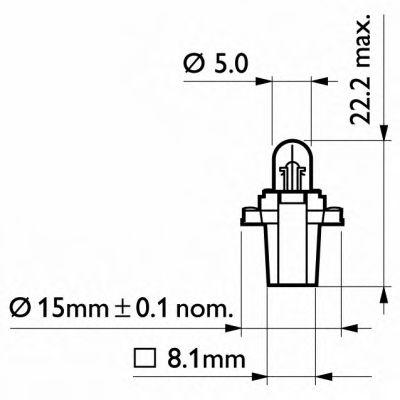 Лампа накаливания BAX8,3/1,5Blue12V 2W BAX8,3s/1,5 blue (пр-во Philips) в интернет магазине www.partlider.com