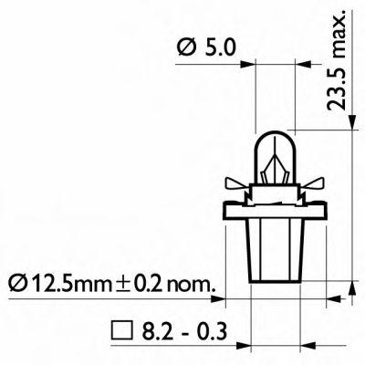 Лампа накаливания BAX8,5d/2Black12V 1.2W BAX8,5d/2 black (пр-во Philips) в интернет магазине www.partlider.com