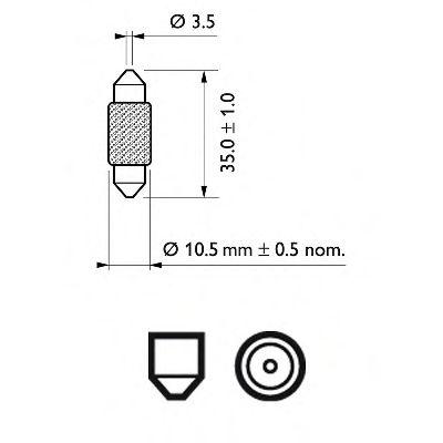 Лампа накаливания FestoonT10,5X3812V 10W SV 8,5 (пр-во Philips) в интернет магазине www.partlider.com
