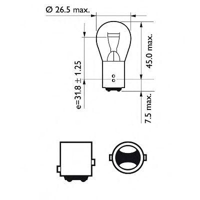 Лампа накаливания P21/5WVisionPlus12V 21/4W BAY15d (пр-во Philips)                                    арт. 12499VPB2