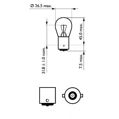 Лампа накаливания P21W12V 21W BA15s (пр-во Philips) в интернет магазине www.partlider.com