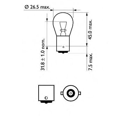 Лампа накаливания P21WVisionPlus12V 21W BA15s (пр-во Philips)                                         арт. 12498VPB2