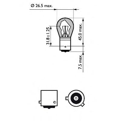 Лампа накаливания PY21W 12V 21W BAU15s LongerLife EcoVision (пр-во Philips)                          в интернет магазине www.partlider.com