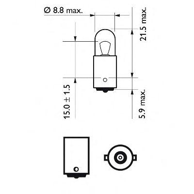 Лампа накаливания T4W12V 4W BA9s (пр-во Philips) в интернет магазине www.partlider.com