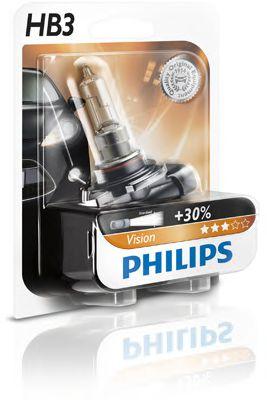 Лампа накаливания HB3 12V 50W P20d  Vision +30 1шт blister (пр-во Philips)                            арт. 9005PRB1