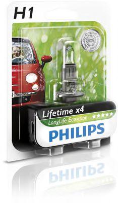 Лампа накаливания H1 12V 55W  P14,5s LongerLife Ecovision 1шт blister (пр-во Philips)                 арт. 12258LLECOB1