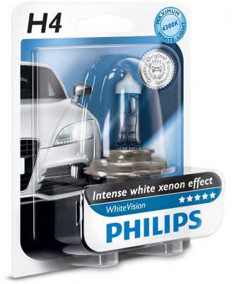 Лампа накаливания H4 WhiteVision 12V, 60/55W, P43t-38, (+60) (4300K)  1шт. blister (пр-во Philips)    арт. 12342WHVB1