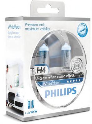Лампа накаливания H4 WhiteVision 12V, 60/55W, P43t-38 (+60) (4300K)  2шт. (пр-во Philips)             арт. 12342WHVSM