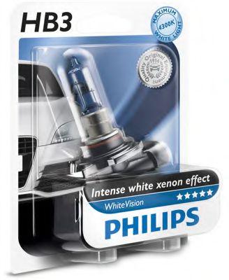 Лампа накаливания HВ3 WhiteVision 12V 55W P20d (+60) (4300K)  1шт. blister (пр-во Philips)            арт. 9005WHVB1