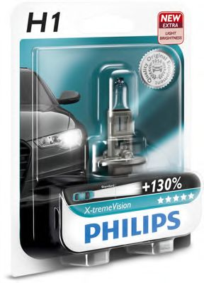 Лампа накаливания H1 X-treme VISION 12V 55W P14,5s (+130)  1шт. blister (пр-во Philips)               арт. 12258XVB1