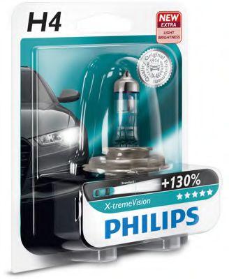 Лампа накаливания H4 X-treme VISION 12V 60/55W P43t-38 (+130) 1шт. Blister (пр-во Philips)            арт. 12342XVB1