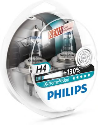 Лампа накаливания H4 12V 60/55W P43t-38  X-treme VISION +130% (пр-во Philips)                         арт. 12342XVS2