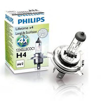 Лампа накаливания H4 12V 60/55W  P43t-38 LongerLife Ecovision (пр-во Philips)                         арт. 12342LLECOC1