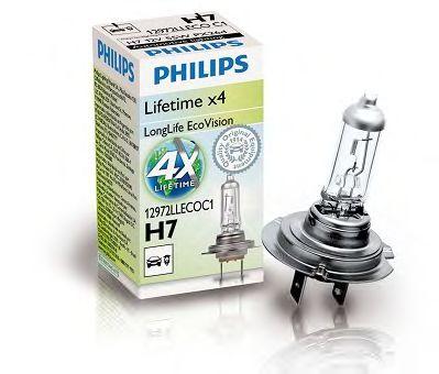 Лампа накаливания H7 12V 55W PX26d LongerLife Ecovision (пр-во Philips)                               арт. 12972LLECOC1