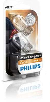 Лампа накаливания W21/5W 12V W3x16q  2шт bliste VISION (пр-во Philips)                                арт. 12066B2