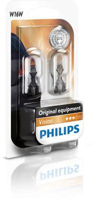 Лампа накаливания W16W 12V 16W W2,1x9,5d Vision 2шт blister (пр-во Philips)                           арт. 12067B2