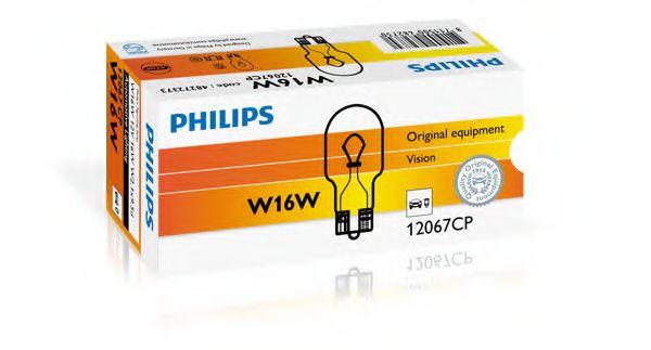 Лампа накаливания W16W12V 16W W 2,1X9,5d (пр-во Philips)                                              арт. 12067CP