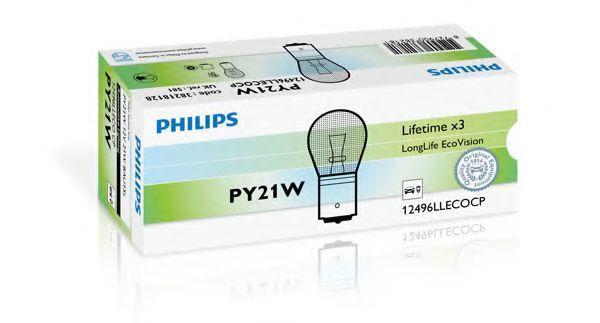 Лампа накаливания PY21W 12V 21W BAU15s LongerLife EcoVision (пр-во Philips)                           арт. 12496LLECOCP
