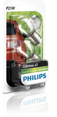 Лампа накаливания P21W 12V 21W BA15s LongerLife EcoVision 2шт blister (пр-во Philips)                 арт. 12498LLECOB2