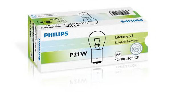Лампа накаливания P21W 12V 21W BA15s LongerLife EcoVision (пр-во Philips)                             арт. 12498LLECOCP