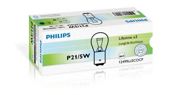 Лампа накаливания P21/5W12V 21/5W BAY15d  LongerLife EcoVision (пр-во Philips)                        арт. 12499LLECOCP