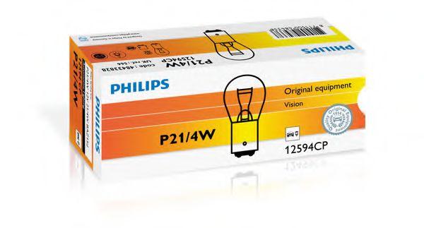 Лампа накаливания P21/4W12V 21/4W BAZ15d (пр-во Philips)                                              арт. 12594CP