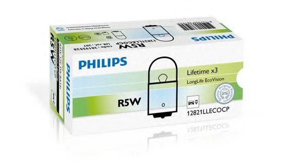 Лампа накаливания R5W12V 5W BA15s LongerLife EcoVision (пр-во Philips)                                арт. 12821LLECOCP
