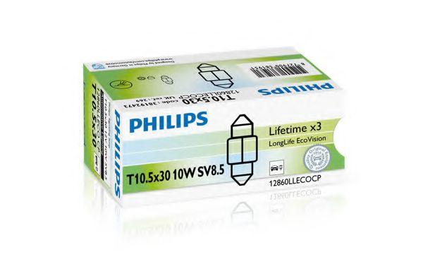 Лампа накаливания 12V 10W T10,5x30 SV8,5 LongerLife EcoVision (пр-во Philips)                         арт. 12860LLECOCP