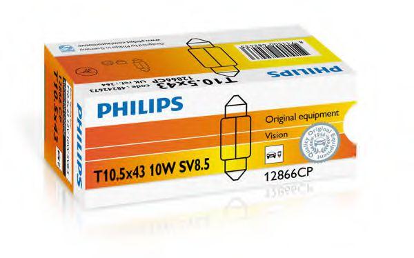 Автолампа Philips 12V 10W SV8.5 T10,5x42  арт. 12866CP