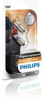 Лампа накаливания T4W 12V 4W BA9s  2шт blister (пр-во Philips)                                        арт. 12929B2
